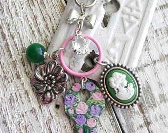 Silver Bag Charm Purse Clip Purse Pull Hand Painted Vintage Key Pink Purple Roses Pansy Cameo Flowers Bow Crystal Upcycled Shabby Chic