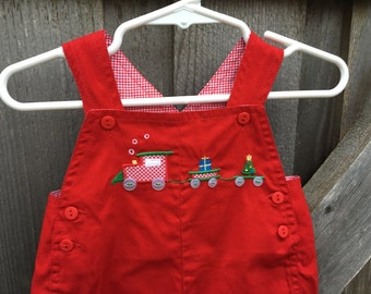 Christmas Train Overalls 3/6 Months