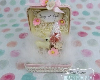 Pink & Shabby CHRISTMAS vintage deer Jewel box pink bottle brush tree Merry and Bright