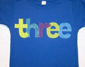 Boys 3rd Birthday three shirt lowercase - size 4 short sleeve primary blue - lettering in blue purple lime green toy story buzz lightyear