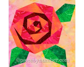 RESERVED Rosie's Rose quilt block, rose quilt patterns, paper piecing quilt patterns