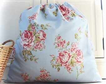 Pretty Laundry Bag in Pastel Roses Cottage Chic Fabric With Drawstring