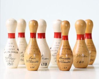 Vintage Bowling Pin Trophies, set of 8, L P Hetrick, Miniature Bowling Pins
