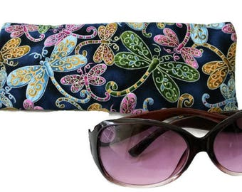 Soft Glasses Pouch , Dragonfly Reading/Eyeglasses Sleeve , Gift for Her , Womens Gift , Blue Colorful Case