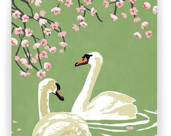 Swans and Cherry Blossoms (Green Background): Box of 8 A2 folding blank cards