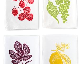4-Pack Fruit Themed Flour Sack Kitchen Towels