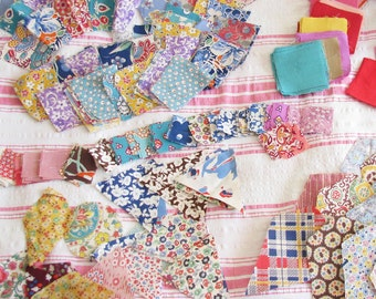 A Quilter's Stash...Vintage 1930s-1940s Print Fabric Quilt Pieces