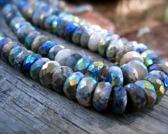 Mystic Dendritic Opal beads Faceted Rondelles semiprecious gemstones - 6 1/4 inches
