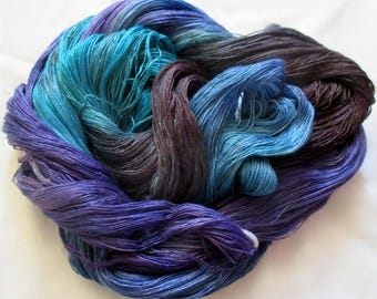 Hand Dyed Tencel Yarn  - 8-2  Lace Wt. 840 yds.    SAPPHIRES