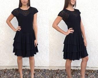 Vintage 80's mesh beaded ruffled mini dress