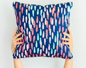 Confetti Dots Throw Pillow with Gold Piping