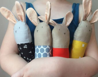 Custom Bunny Rattle - Soft Baby Toy - Choose Your Colors
