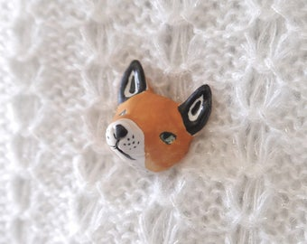 Ceramic Shawl Pin, Hand Sculpted Fox with Antique Brass Stick Pin