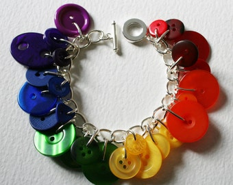 Button Charm Bracelet Multicolored Bright Rainbow