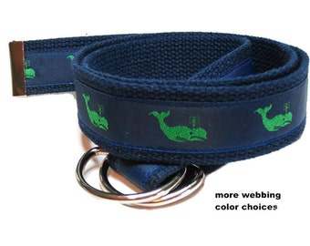 Mens Canvas Belt Whale Ribbon Belt / Navy Preppy D-ring Belt / Nautical Khaki Belt sized for men, teens and Big and Tall men (Green Whale)
