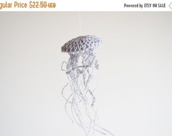 January Sale Handmade Linen Jellyfish Home Decor Ornament in Grey - Beach Boho Cottage Chic Sea Creatures, Small