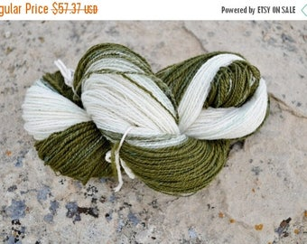 May Sale - 20% off Olive Ombre Yarn - Handspun Yarn in Merino Wool, Silk, & Nylon Sparkle. Soft Plied Luxury Ombre Yarn. Olive Green Hand Bl