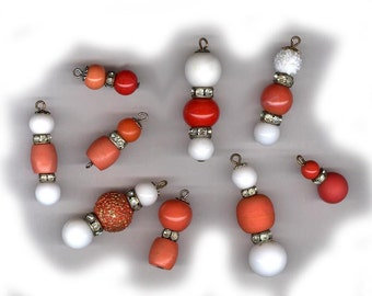 vintage glass bead findings or drops with rhinestone shades of white coral red and oldness NINE ooak drops antique beads