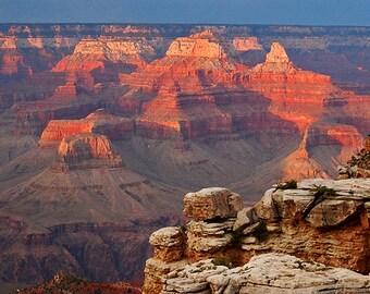 Grand Canyon Photograph, Reflected sunset, National Park, Landscape photograph, wall decor,   travel photo, Inspirational photo,