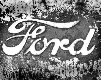 Ford truck logo, Urban decay photos,  Ford, vintage car, black & white, or sepia, man cave,  office decor, home decor, fine art photography