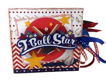 T-Ball Scrapbook - Mini Sports Scrapbook - Baseball Sports Paper Bag Album