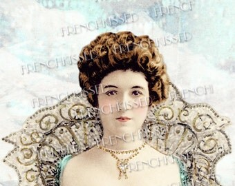 Snow Queen of the Blue Castle 5x7 Greeting card Antique French Postcards Collage Instant Download
