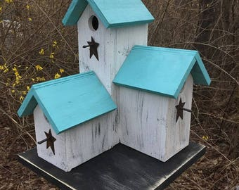 Primitive Country  Condo Birdhouse White Blue Three Nesting Boxes