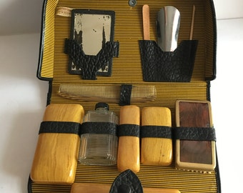 Vintage Grooming Cowhide Leather Dopp Kit Black Pebbled Leather Glass Flask Mirror and More WW2 Soldier Traveler