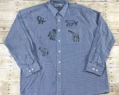 Vintage 1990s 90s Sparkley Safari Animal Patches Blue Button Up Shirt Mens Retro Clothing Size XXL 2XL