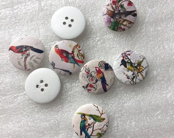 "6pcs+ 30mm/ 1.2"" Zakka Painted Bird Wooden Buttons /white wooden buttons"