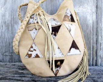 Geometric Triangle Suede Leather Shoulder Bag by Stacy Leigh in Beige