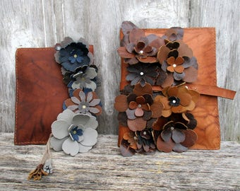 Leather Flower Clutch in Larger Size with Shades of Brown Flowers by Stacy Leigh in Marbled Chestnut