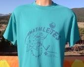 80s vintage t-shirt MATHLETES new augusta Medium Large science math