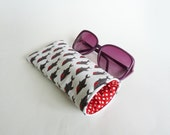 Glasses case, sharks, novelty cotton shark fabric, cotton pouch