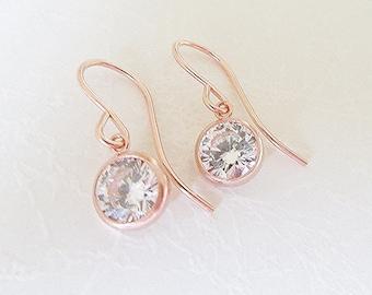 14K Rose Gold Filled CZ Earrings, 6mm Cubic Zirconia Drop Earrings in Rose Gold,