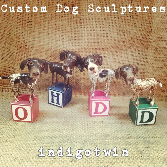 Customize and Immortalize your dogs FOUR paper clay dog sculptures on wooden letter blocks