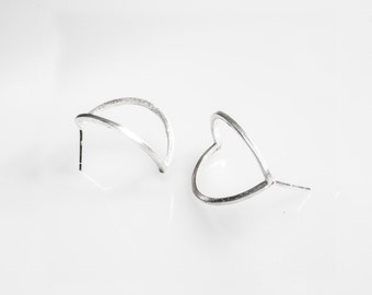 Hearth 3D Architectural Sculptural Earrings, Sterling Silver Post Earrings, Minimalist Silver Earrings, Hypoallergenic Earrings