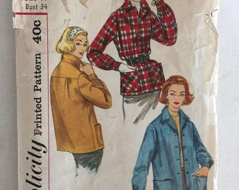 "Vintage 1950's Simplicity Women's Jacket Pattern #2273 Sz 14, Bust 34"" - OH - Vintage Simplicity / 50s Pattern / 50s Jacket / INCOMPLETE"