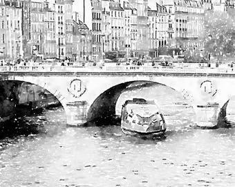 Instant Download Seine River Boat, Paris Bridge Watercolor Painting, Black and White Printable Photo Art