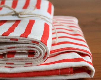 Stroller Blanket; Red and White Stripe Organic Baby Blanket, Burp Cloth Gift Set; Sailor Stripes Blanket Gift, Organic Baby Gift, Handmade