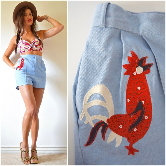 SUMMER SALE / 20% off Vintage 50s 60s Ultra High Waisted Blue Linen Hot Pants with Rooster Applique (size small)
