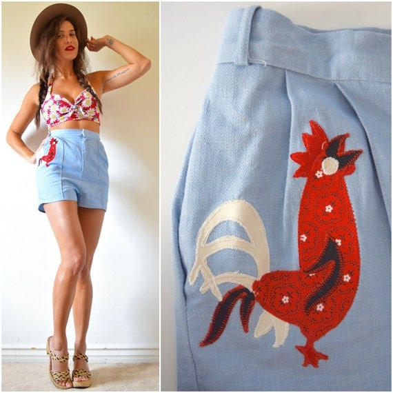 Vintage 50s 60s Ultra High Waisted Blue Linen Hot Pants with Rooster Applique (size small)