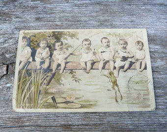 Vintage Antique old French 1900s real photography recolored /collage /postcard /  babys fishing frogs