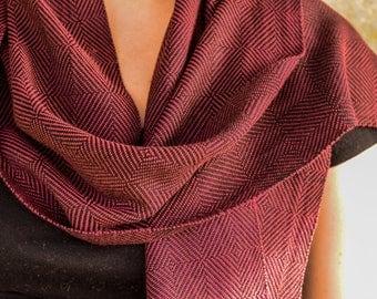 Maroon handwoven Herringbone twill bamboo scarf