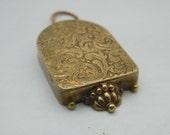 Lovely Rare pendant locket - French Treasury locket - Embossed Treasury box pendant -