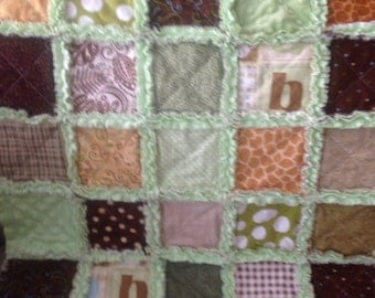 Baby boy rag quilt/ sweet blankie / all green