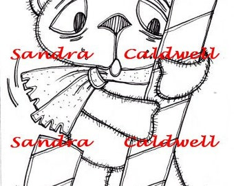1251 Bearly a Candy Cane Rider Digi Stamp