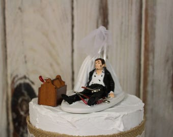 Auto Mechanic Wedding Cake Topper, Grooms Cake Topper, Bride and Groom Cake Topper