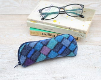 Glasses Case Felted Wool Glasses Case in Blues and Purples