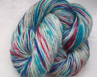 Sock yarn hand painted wool, silver grey, turquoise, blue, crimson red 100g